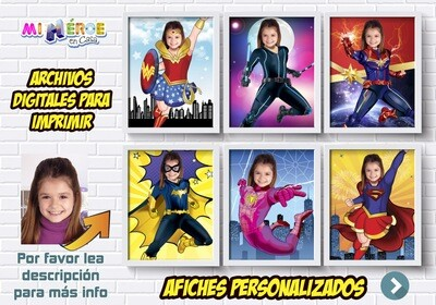 Afiches de Super Hero Girls. Afiches Personalizados de Mujer Maravilla, Capitana Marvel, Batichica, Spidergirl, Shuri, Jedi Rey, Black Widow y Super Girl. Decoración Super Hero Girls. 426SP