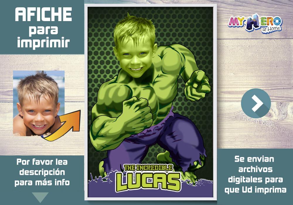 Afiche de Hulk. Afiche Personalizado de Hulk. Decoración Hulk. Fiesta Hulk. Pared Hulk. 366SP