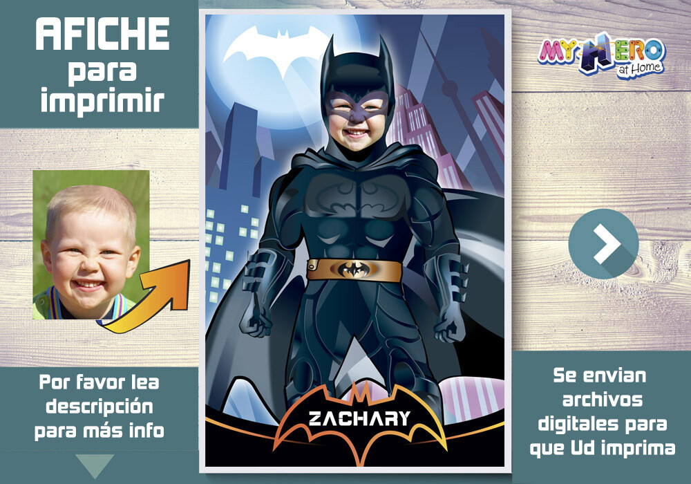 Afiche de Batman. Afiche Personalizado de Batman  Decoración Batman. Fiesta Batman. Pared Batman. 370SP