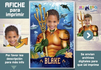 Afiche de Aquaman. Afiche Personalizado de Aquaman  Decoración Aquaman. Fiesta Aquaman. Pared Aquaman. 349SP