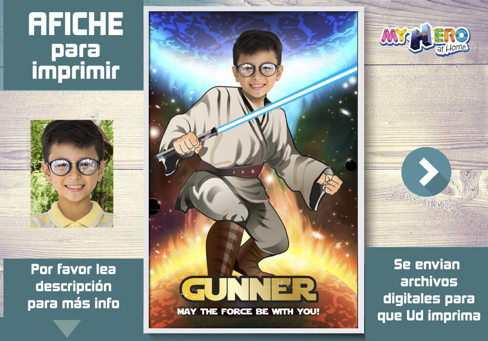 Afiche de Jedi. Afiche Personalizado de Star Wars.  Decoración Star Wars. Fiesta Jedi Star Wars. Pared Jedi. 357SP