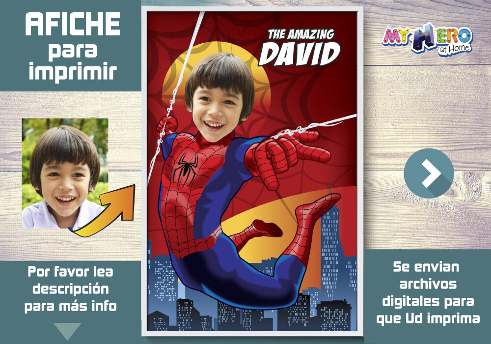 Afiche de Spider-Man. Afiche Personalizado de Spider Man.  Decoración Spider-Man. Fiesta Spider-Man. Pared Spider-Man. 367SP
