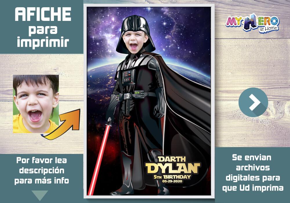 Afiche de Darth Vader. Afiche Personalizado de Star Wars.  Decoración Dark Side. Fiesta Darth Vader Star Wars. 431SP