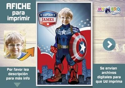 Afiche de Capitán América. Afiche Personalizado de Capitán América. Decoración Capitán América. Fiesta Capitán América. 365SP