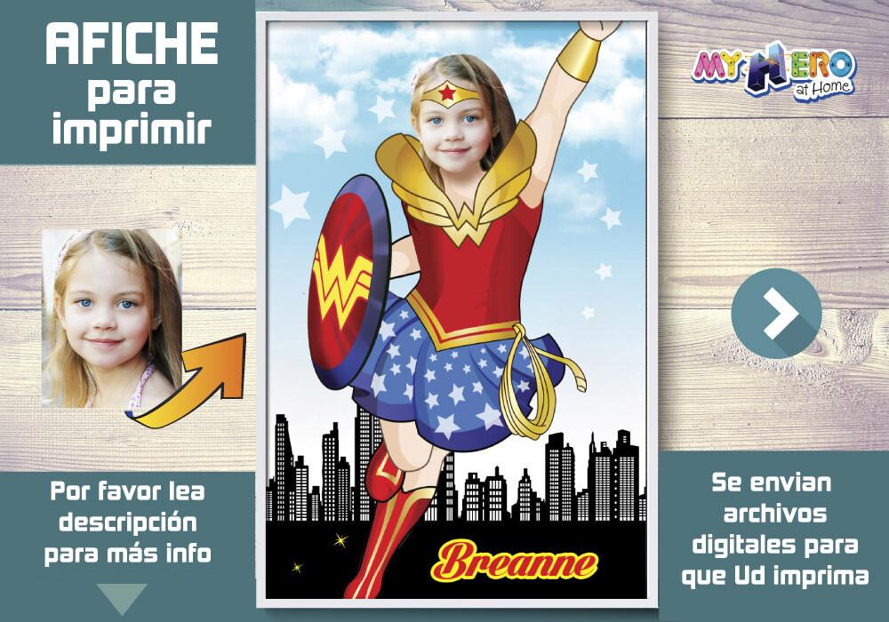 Afiche de Wonder Woman, Afiche Personalizado de Mujer Maravilla, Decoración Wonder Woman, Fiesta Mujer Maravilla. 374SP