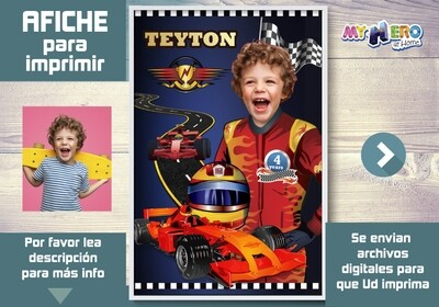 Afiche Personalizado de Carros de Carrera. Decoración Carrera Carros. Fiesta Carrera Carros. 375SP
