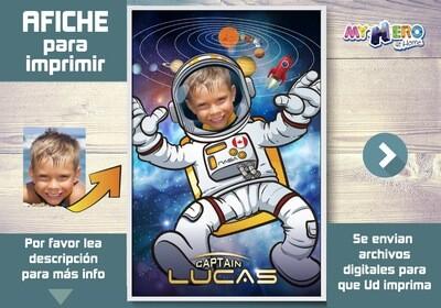 Afiche de Astronauta. Afiche Personalizado de Astronauta.  Decoración Astronauta. Fiesta Astronauta. Pared Sistema Solar. 359SP
