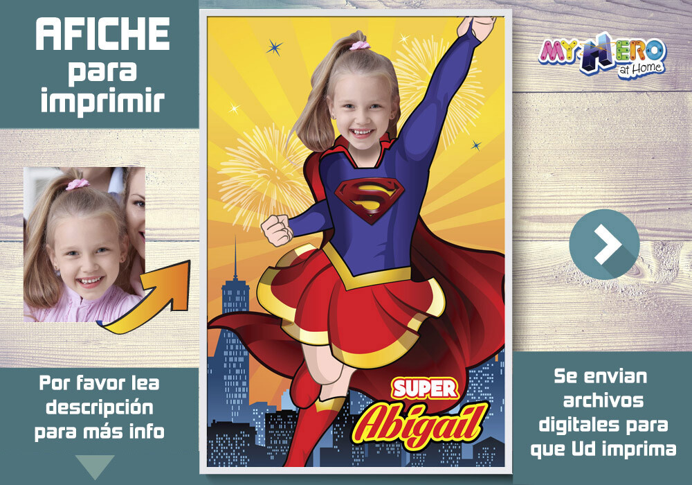 Afiche de Supergirl. Afiche Personalizado de Super Hero Girls. Decoración Super Hero Girls. Fiesta Mujer Maravilla. 398SP