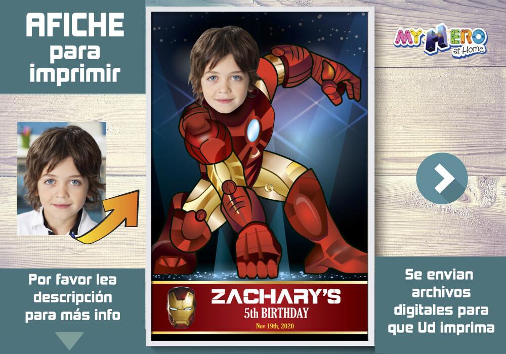 Afiche de Iron Man. Afiche Personalizado de Iron Man. Decoración Iron Man. Fiesta Iron Man. Pared Iron Man. 429SP