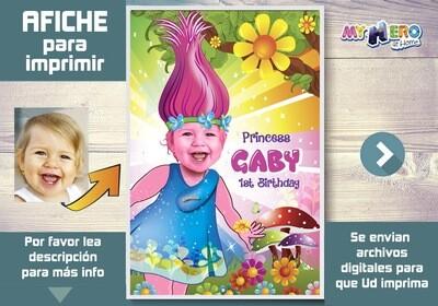 Afiche de Trolls. Afiche Personalizado de Trolls. Decoración Trolls. Fiesta de Trolls. Afiche de la Princesa Poppy. 372SP