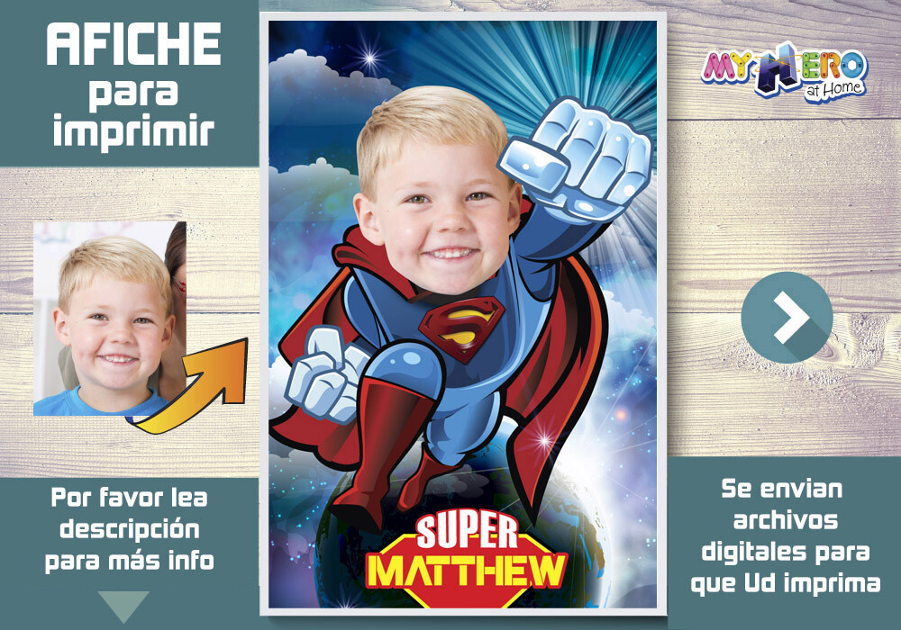 Afiche de Superman. Afiche Personalizado de Superman. Decoración Superman. Fiesta Superman. Afiche de Super heroe. 369SP