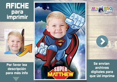 Afiche de Superman. Afiche Personalizado de Superman. Decoración Superman. Fiesta Superman. Afiche de Super heroe. 369SP