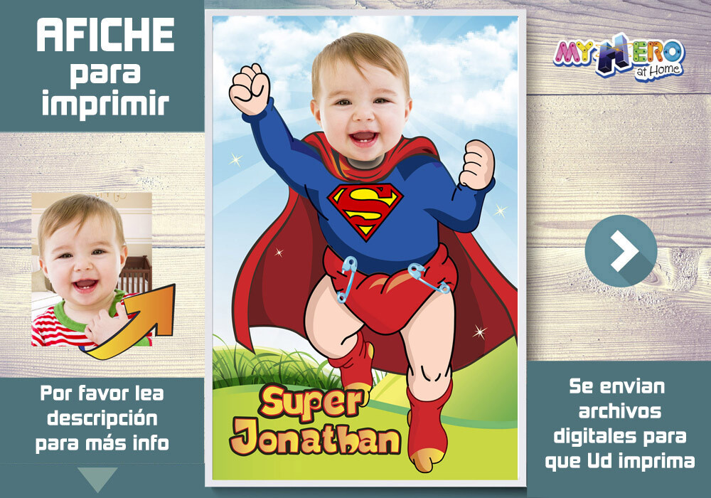 Afiche de Bebe Superman. Afiche Personalizado de Super Baby. Decoración Baby Superman. Fiesta Baby Superman. Superman Bebe Decoracion. 368SP