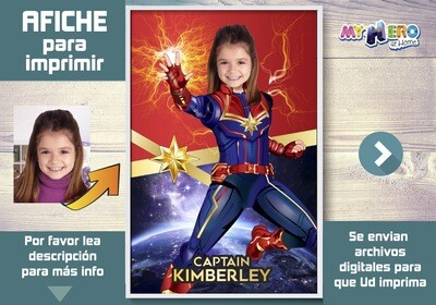 Afiche de Capitana Marvel. Afiche Personalizado de Capitana Marvel. Decoración Capitana Marvel. Fiesta Capitana Marvel. 373SP