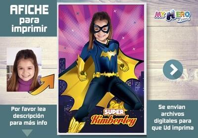 Afiche de Batichica. Afiche Personalizado de Super Hero Girls. Decoración Batichica. Fiesta Batichica. Pared Batichica. 410SP