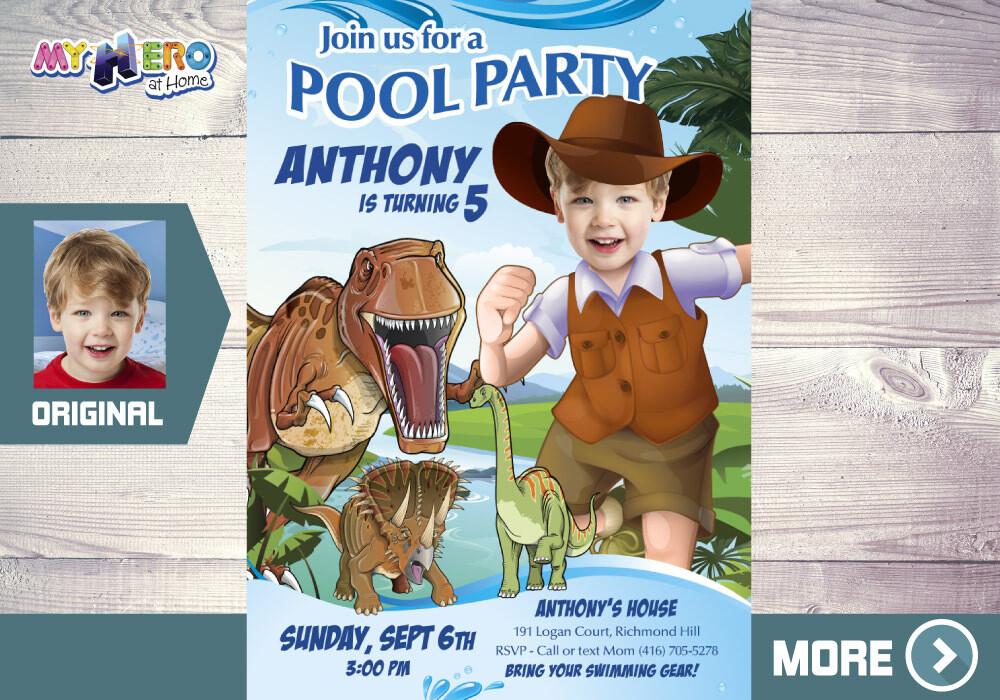 Dinosaurs Pool Party Birthday. T-Rex Pool party. Dinosaurs Adventure Party. Dinosaurs Waterslide Invitation. Dino Splashy Party. 210