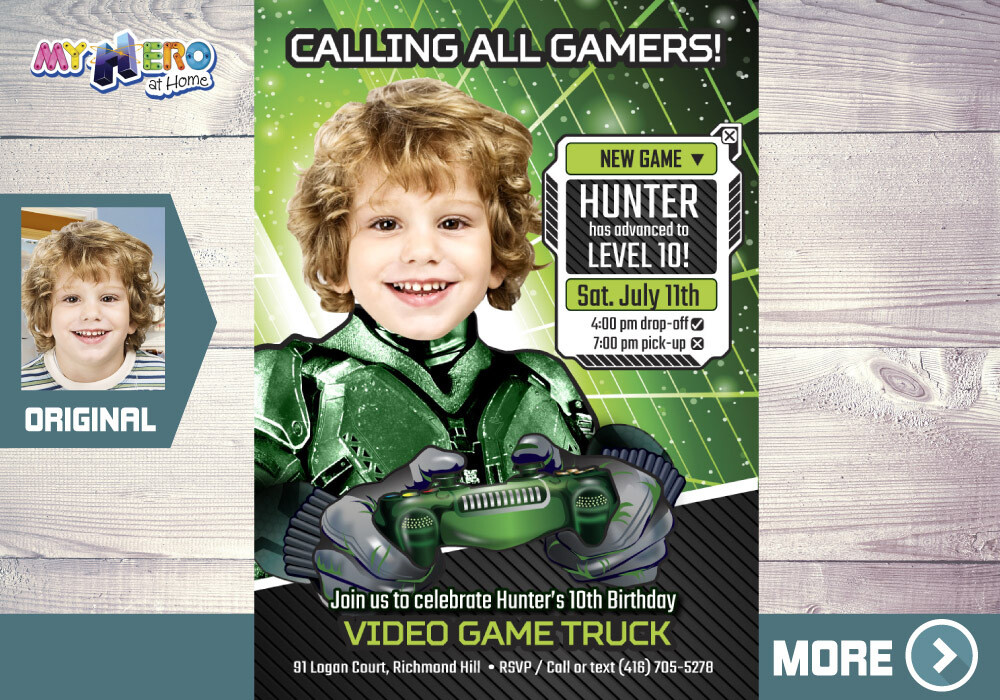 Video Gamers Birthday Invitation, Video games Birthday Invitation, Game On Party Invitation, Video Game Truck Party, 432