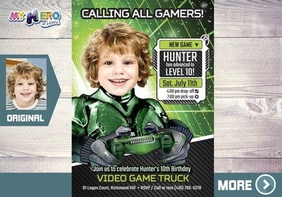 Video Gamers Birthday Invitation. Video games Birthday Invitation. Game On Party Invitation. Video Game Truck Party. 432