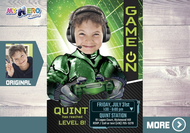 Video Gamers Party Invitation. Video gamers Theme Party. Game On Birthday Invitation. Video Games Battle Party. Gamers Virtual Party. 432B