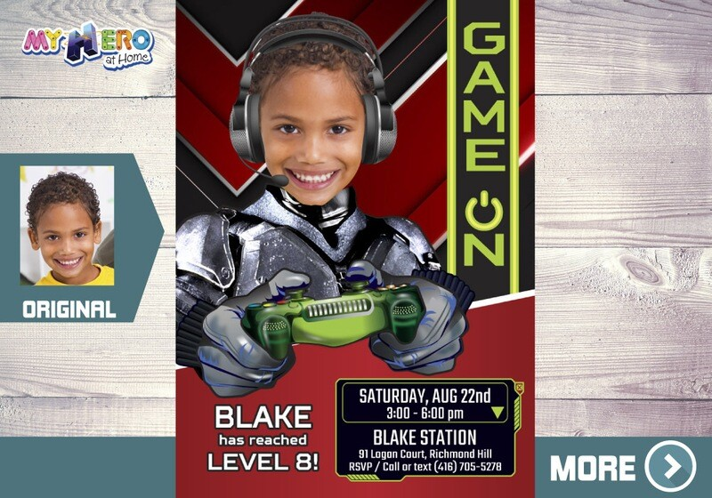 Video Gamers Party Invitation. Video gamers Theme Party. Game On Birthday Invitation. Video Games Battle Party. Gamers Virtual Party. 433B