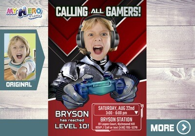 Video Gamers Birthday Invitation. Video games Party Invitation. Game On Party Invitation. Video Game Truck Party. Gamers Virtual Party. 433