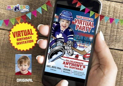 Hockey Virtual Birthday Invitation. Hockey Virtual Party. Hockey Online Party. Hockey Digital. Hockey Virtual theme Party. 308CV