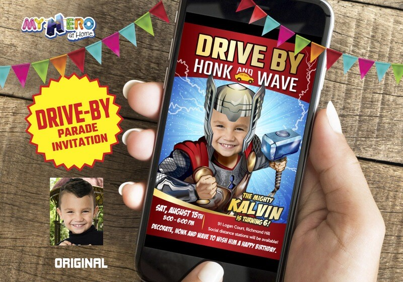 Thor Drive-By Party Invitation, Thor Drive-By Birthday, Thor Virtual Party, Thor Birthday Parade, Avengers Party Parade. 154DB