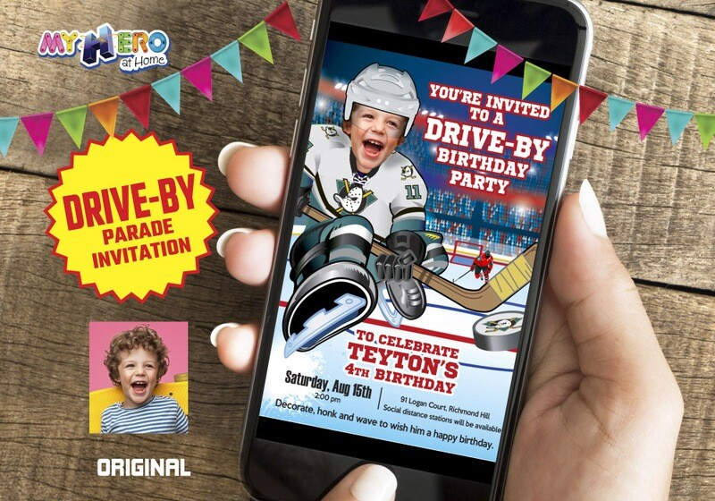 Hockey Drive-By Invitation, Hockey Birthday Parade Invitation, Hockey Drive-Thru Party, Hockey Digital, Hockey Virtual theme Party. 301CV