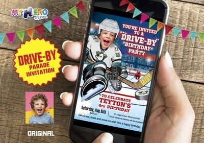 Hockey Drive-By Invitation, Hockey Birthday Parade Invitation, Hockey Drive-Thru Party, Hockey Digital, Hockey Virtual theme Party. 301CV