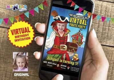 Girl Pirate Virtual Invitation, Girl Pirate Virtual Party, Pirate Online Party, Girl Pirate Drive By Party, Pirates Birthday Parade. 230CV