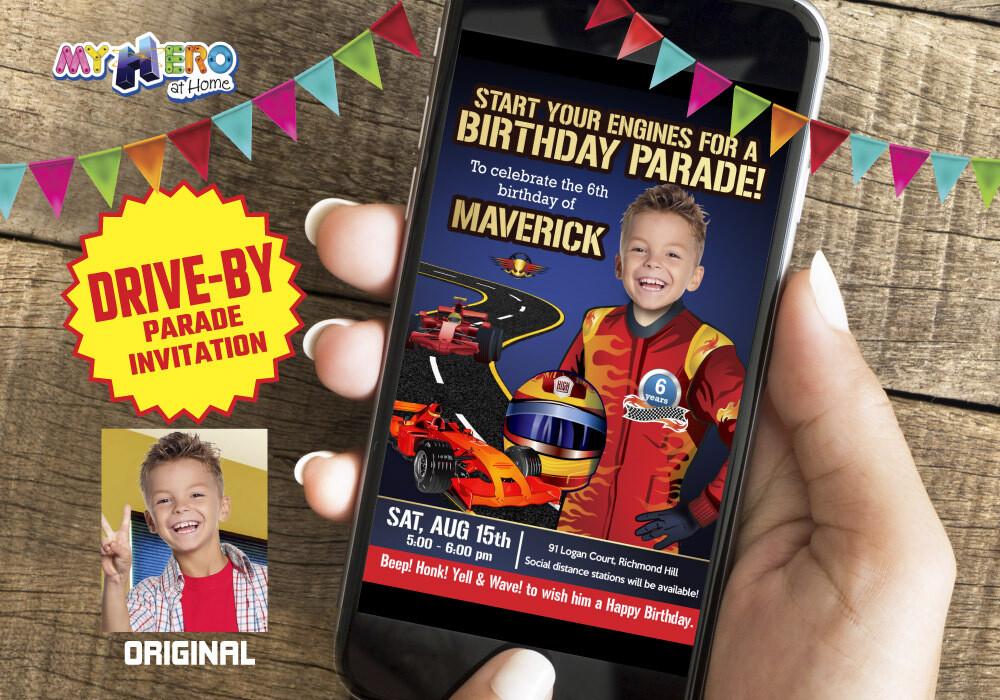 Race Car Virtual Party. Race Car Virtual Birthday. Race Car Drive By Party. Race Car Birthday Parade. Race Car Digital Invitation. 317CV
