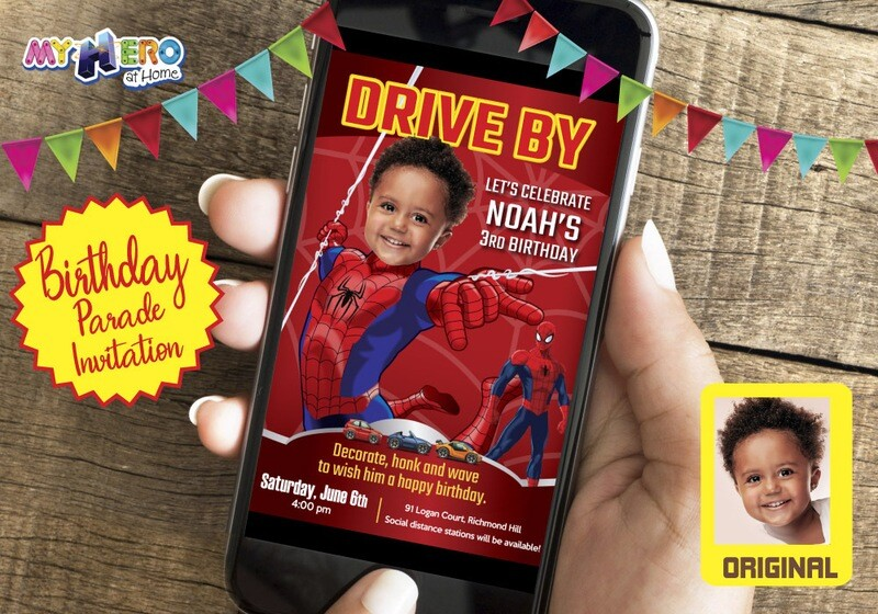 Spider Man Drive By Birthday Invitation, Spider Man Birthday Parade Invitation, Spider-Man Drive-By Party, Spider-Man Driveway Party. 136CV