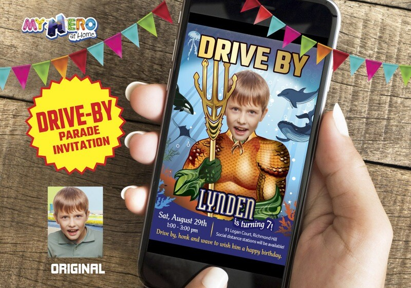 Aquaman Drive By Birthday Invitation, Aquaman Birthday Parade, Aquaman Drive-By Party, Aquaman Driveway Party, Superhero Drive-By. 190DB