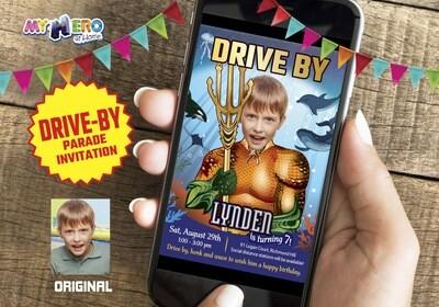 Aquaman Drive By Birthday Invitation, Aquaman Birthday Parade, Aquaman Drive-By Party, Aquaman Driveway Party, Superhero Drive-By. 190DB