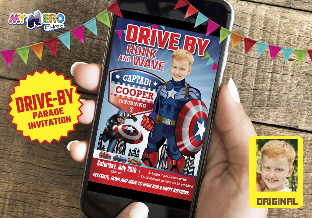Captain America Drive By Birthday, Captain America Birthday Parade, Captain America Drive-By Party, Captain America Driveway Party. 075DB