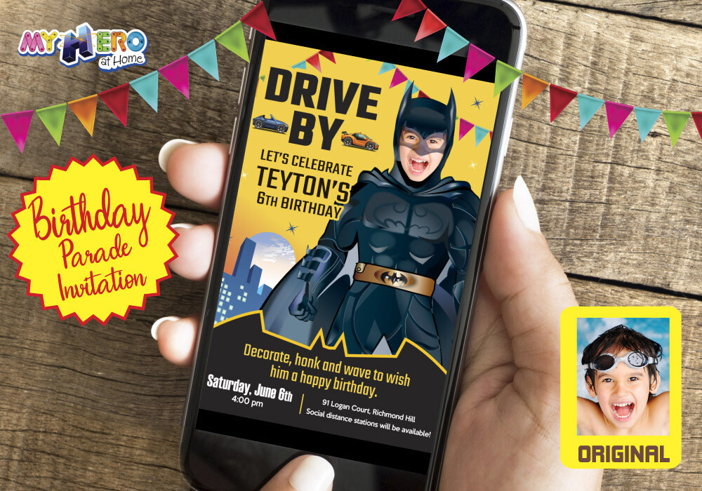 Batman Drive By Birthday Invitation, Batman Birthday Parade, Batman Drive-By Party, Batman Driveway Party, Superhero Drive-By. 215DB