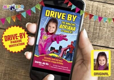 Spider Girl Drive By Birthday Invitation, Spider Girl Birthday Parade, Spider Girl Drive-By Party, Spider Girl Driveway Party. 391DB