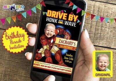 Iron Man Drive By Birthday Invitation. Iron Man Birthday Parade Invitation. Ironman Drive-By Party. Ironman Driveway Party. 095DB