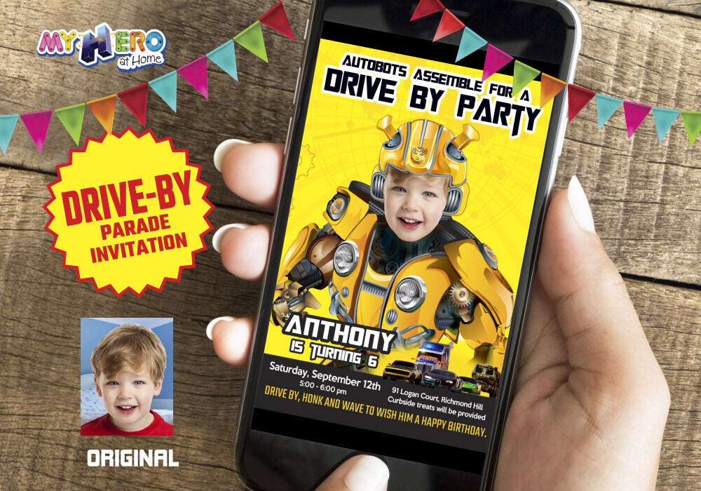 Bumblebee Drive By Birthday Invitation, Bumblebee Birthday Parade, Transformers Drive-By Party, Autobots Birthday Parade. 291DB