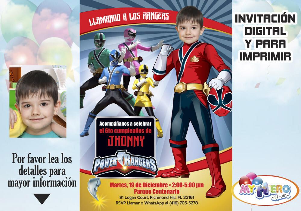 Power Rangers Invitación de Cumpleaños. Fiesta temática Power Rangers. Power Rangers Rojo. 001SP