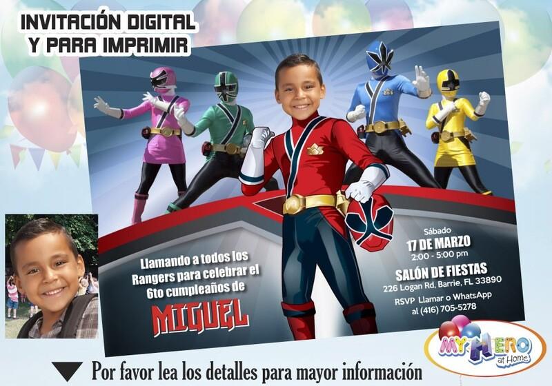 Power Rangers Invitación de Cumpleaños. Fiesta temática Power Rangers. Power Rangers Rojo. 002SP