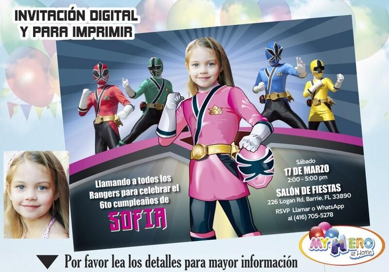 Invitación de Cumpleaños de Power Rangers para Niñas. Fiesta Power Rangers Niña. Power Ranger Rosa. 059SP