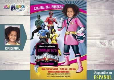 Invitación de Cumpleaños de Power Rangers para Niñas. Fiesta Power Rangers Niña. Power Ranger Rosa. 396SP