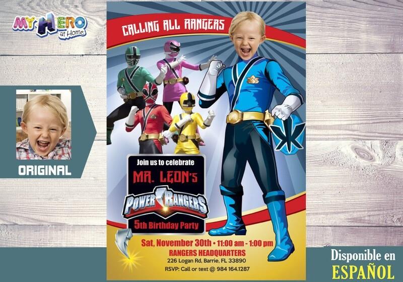 Power Rangers Invitación de Cumpleaños. Fiesta temática Power Rangers. Power Rangers Azul. 395SP