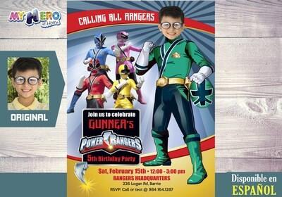 Power Rangers Invitación de Cumpleaños. Fiesta temática Power Rangers. Power Rangers Verde. 415SP
