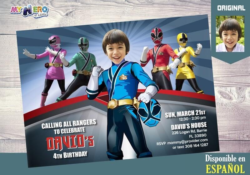 Power Rangers Invitación de Cumpleaños. Fiesta temática Power Rangers. Power Rangers Azul. 216SP
