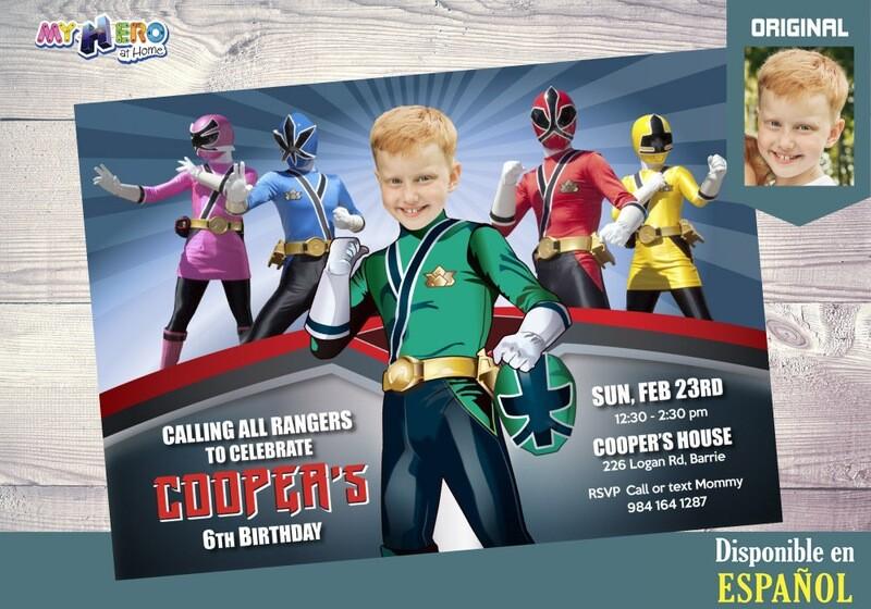 Power Rangers Invitación de Cumpleaños. Fiesta temática Power Rangers. Power Rangers Verde. 414SP
