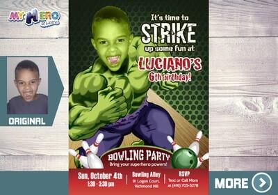 Hulk Bowling Party Invitation. Avengers Bowling Party. Bowling party themed Hulk. Hulk Bowling Party Ideas. Fiesta de Bolos tema Hulk. 144