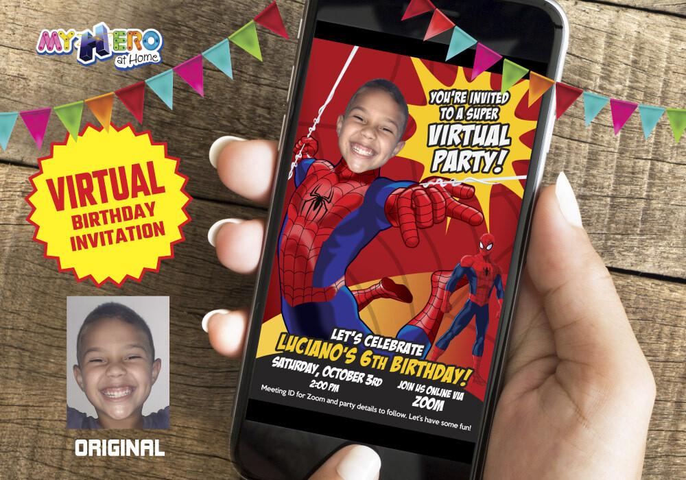 Spider-Man Virtual Birthday Invitation. Spider-Man Virtual Party. Spider-Man Digital. Spider-Man Social Distance Birthday. 101CV