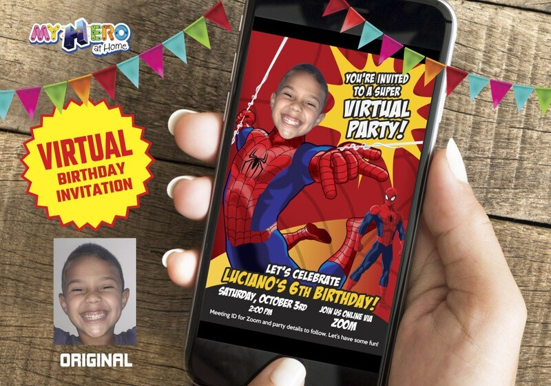 Spider-Man Virtual Birthday Invitation, Spider-Man Virtual Party, Spider-Man Digital, Spider-Man Social Distance Birthday. 101CV